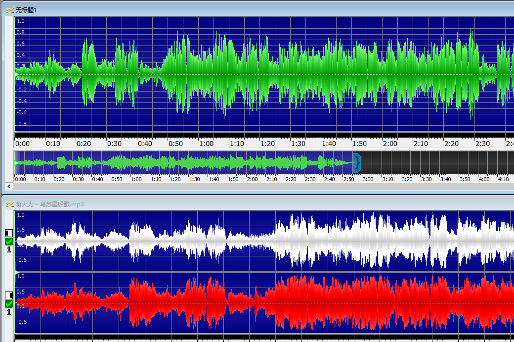 图六:GoldWave中文版中单声道与立体声道对比图
