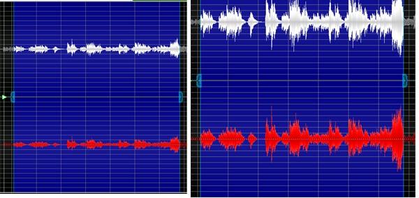 图八:GoldWave中文版对音频音量改变后波形前后对比图