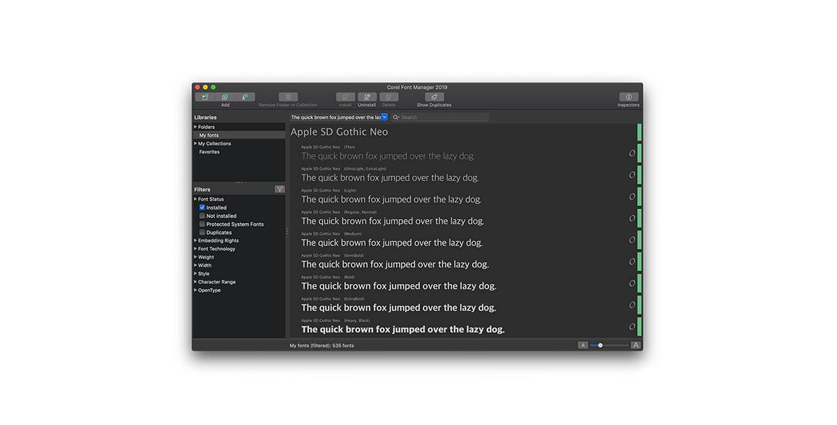 Corel Font Manager 2019 mac