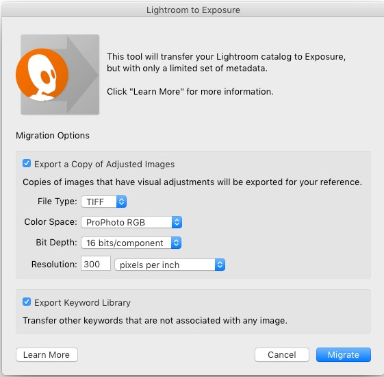 Lightroom to Exposure迁移工具的功能介绍