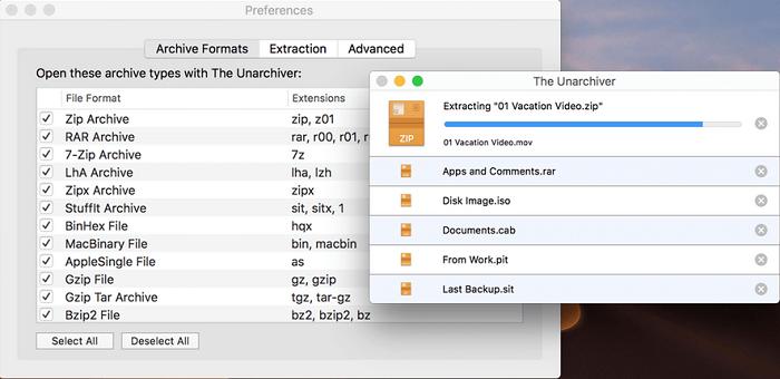 The Unarchiver软件界面