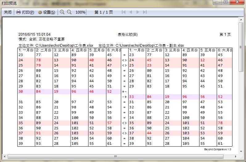 Beyond Compare表格比较报告打印预览界面图例