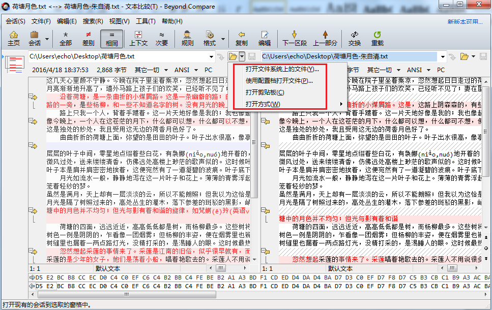 Beyond Compare文本比较会话文件按钮菜单图例