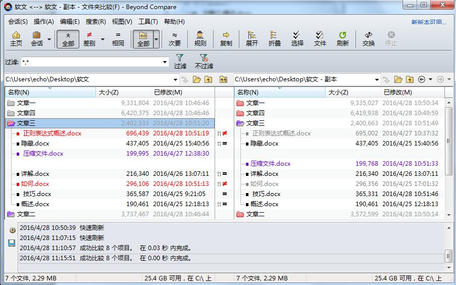 Beyond Compare文件夹比较会话子文件夹比较结果视图图例