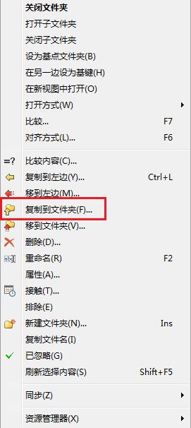 Beyond Compare文件夹比较右键单击子文件展开的菜单图例