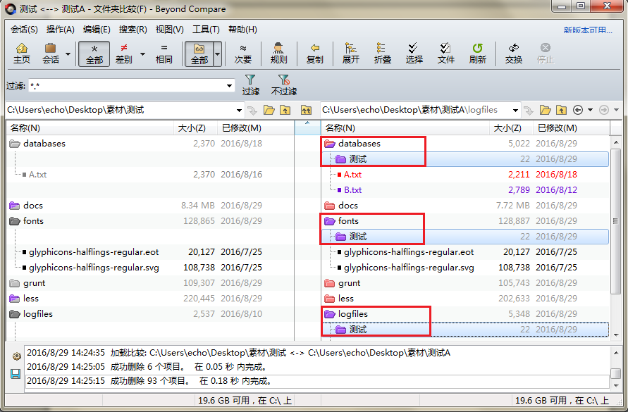 Beyond Compare文件夹比较会话窗格图例
