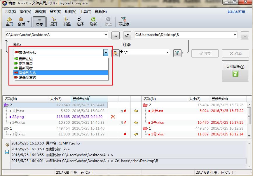 Beyond Compare文件夹同步会话选择操作方式界面图例