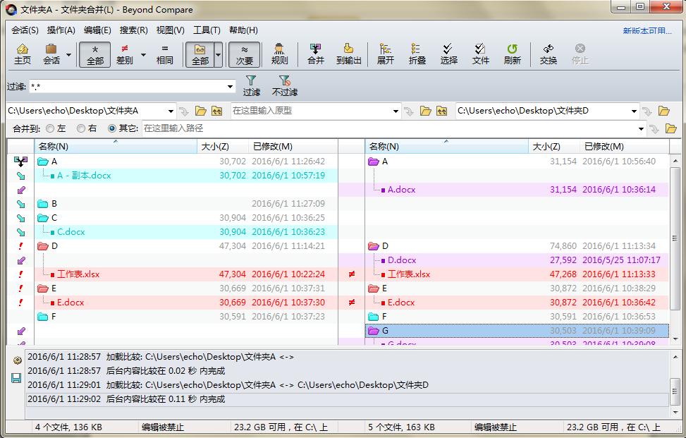 Beyond Compare文件夹合并会话操作界面图例