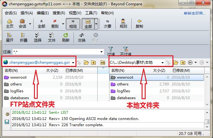 Beyond Compare文件夹比较操作界面图例