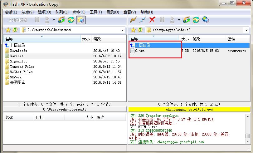 FTP软件显示复制文件界面