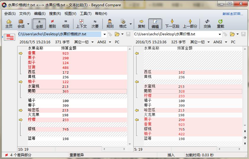 Beyond Compare文本比较设置对齐后界面图例