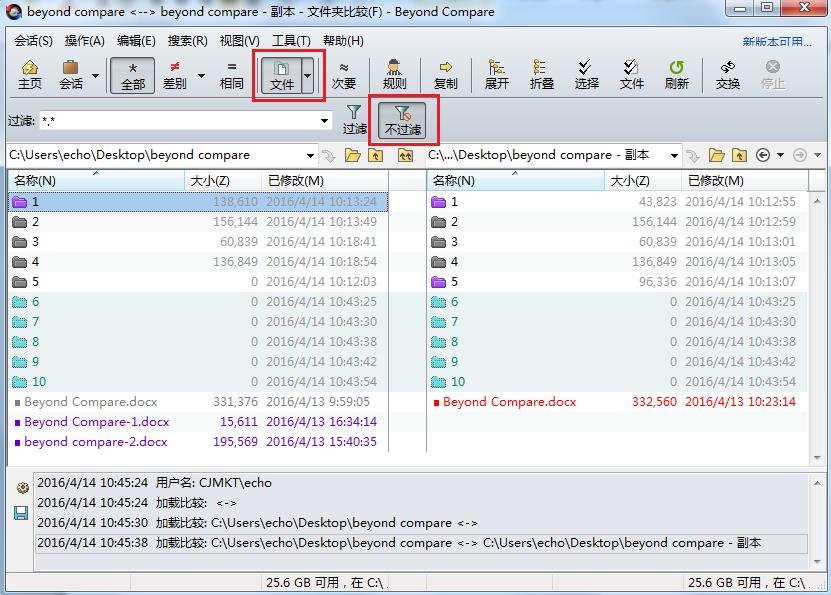 Beyond Compare文件夹比较--仅比较文件过滤界面图例