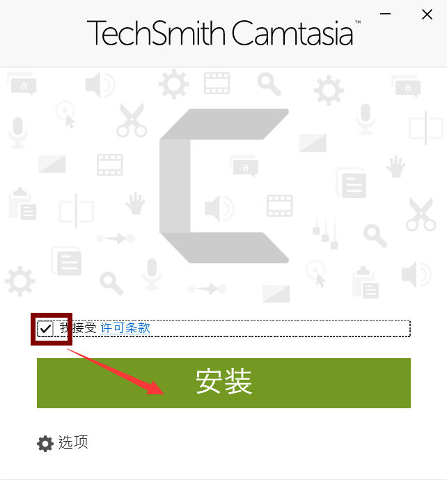 图片7:Camtasia接受许可条款