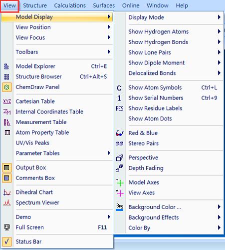 Chem 3D显示(View)菜单