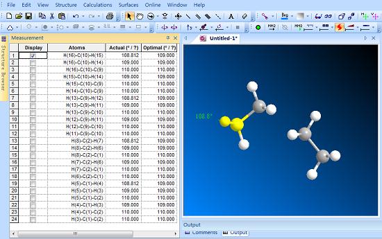 显示化学键键角