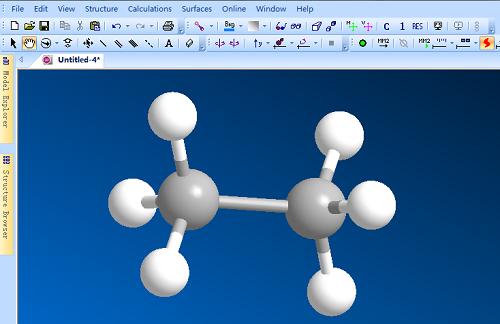 利用Chem 3D单键工具建立乙烷模型
