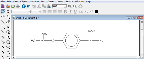 ChemDraw绘制的ibuprofen分子