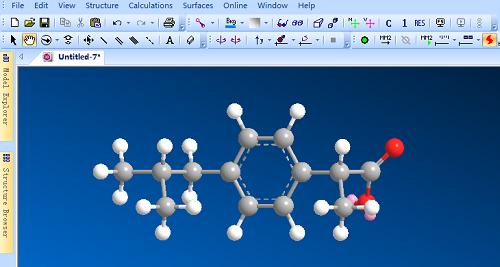 建立ibuprofen分子的ChemBio 3D模型
