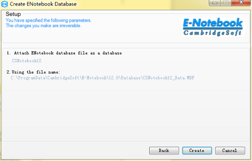 等待创建ChemOffice Professional 15的E-Notebook数据库