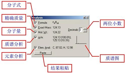 ChemDraw分析信息