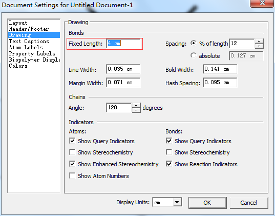 ChemDraw Document Settings 对话框