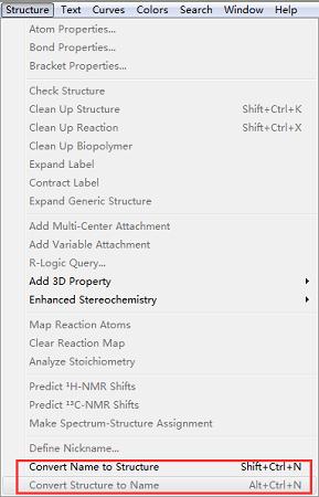 ChemDraw的结构式与命名转换命令