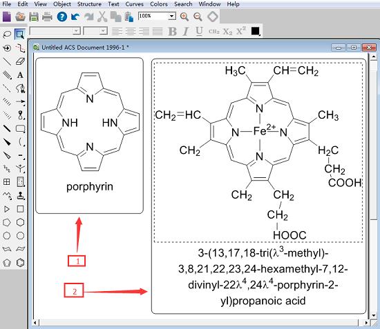 ChemDraw绘制铁卟啉结构