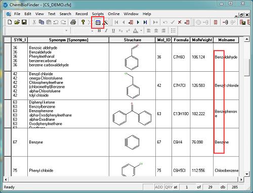 表格形式显示检索结果