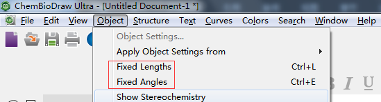 ChemDraw Fixed Lengths和Fixed Angles按钮