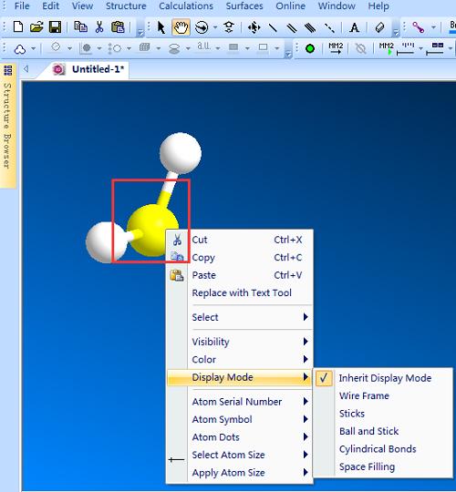 Chem 3D原子的右击菜单