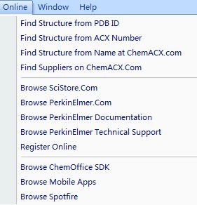ChemBio3D的Online菜单