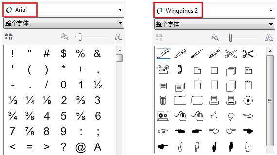 不同的符号字体