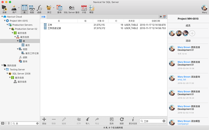 Navicat for SQL Server Mac 树或对象筛选功能