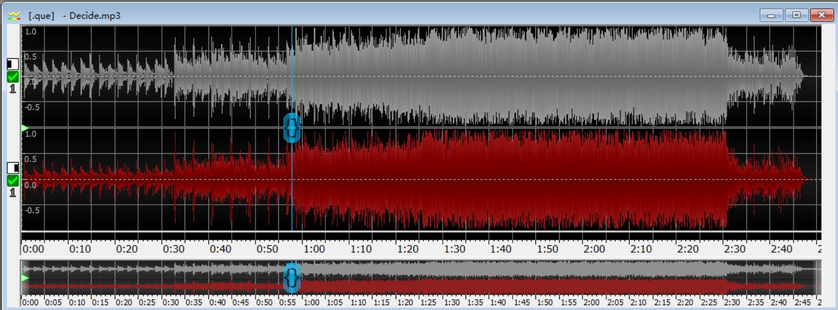 图片3:GoldWave删除一段音频前(上)后(下)对比图