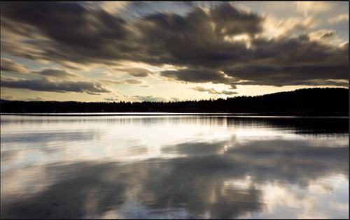哥伦湖湖面风光延时素材
