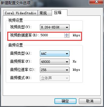 MP4格式视频数据速率设置
