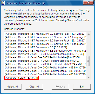 运行Windows Install Clean Up