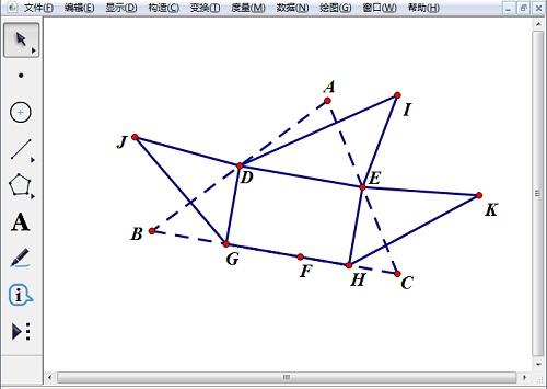 任意繪制點I、J、K并構造線段