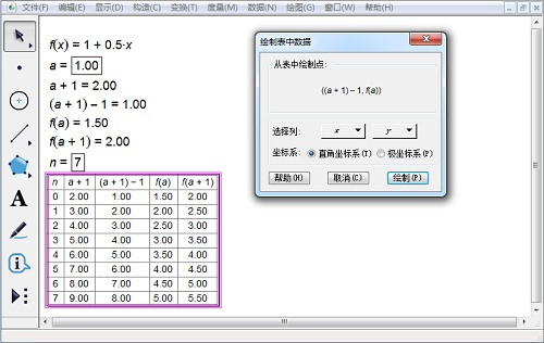 几何画板绘制表中数据