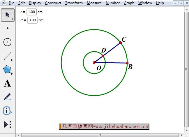 构造半径OB