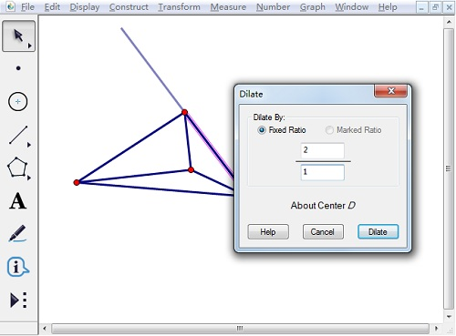 缩放顶点和位似中心连线