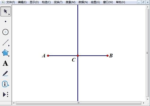 绘制线段AB并构造中垂线