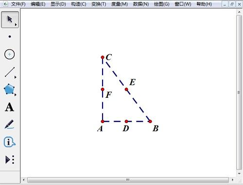 構造直角三角形ABC并取三邊中點