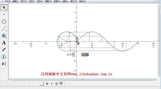 几何画板课件模板——生成正弦函数图像