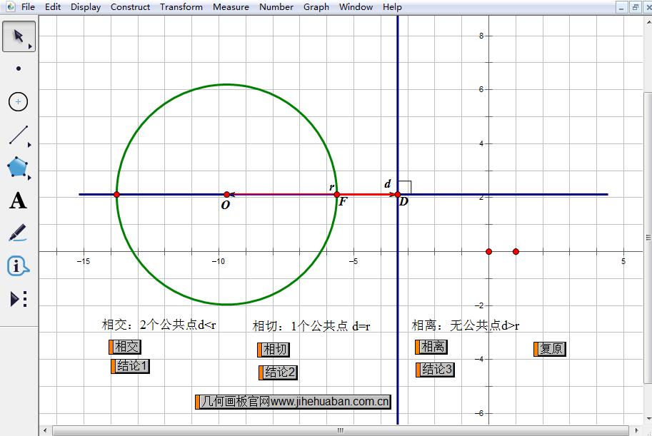 几何画板课件模板——探究直线与圆的位置关系
