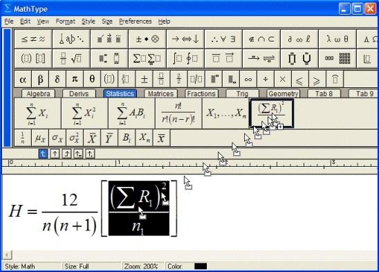 MathhType常用公式