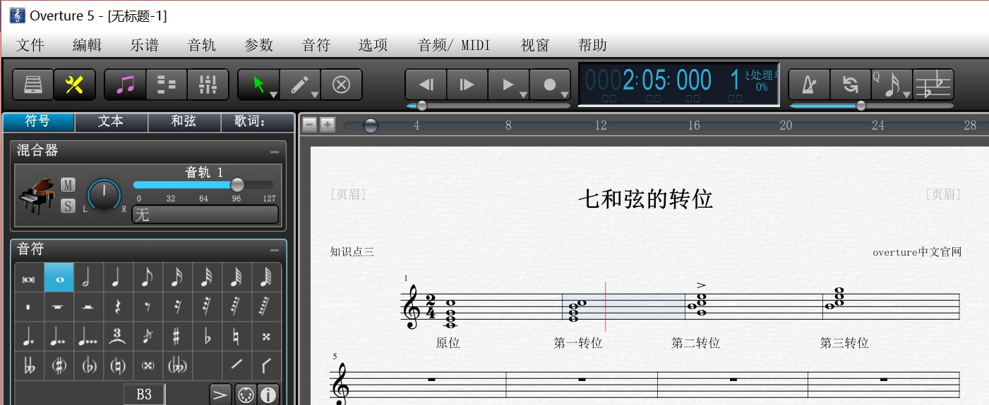 Oveture五线谱中七和弦的转位