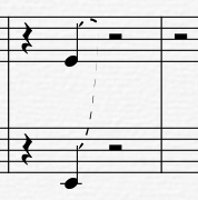 如何使用overture將不同行的音符連線?