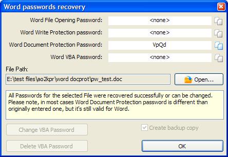 AOPR破解Word密码的结果对话框
