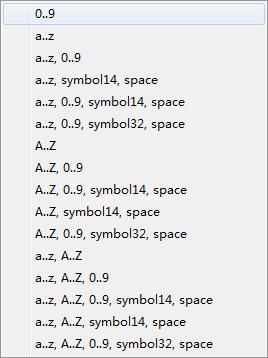 字符集列表